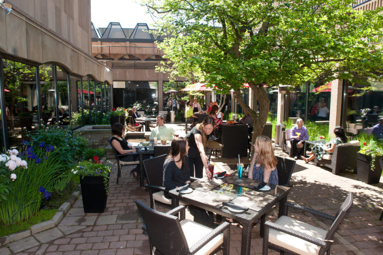 Customers seated outdoors at Mavor's
