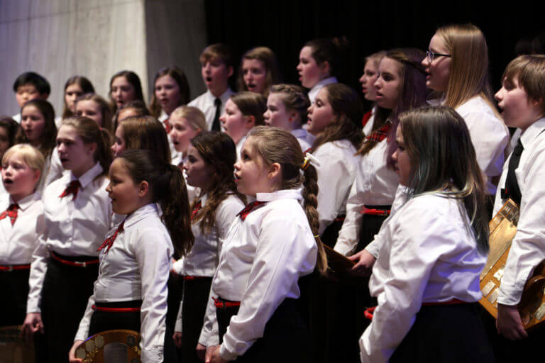 Close-up of Youth Chorus on stage