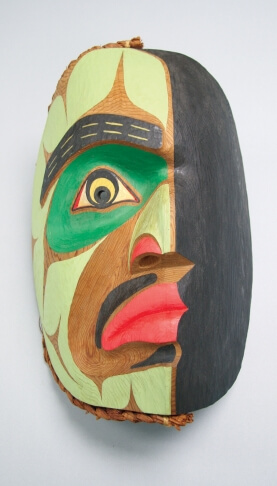 David Neel, Ridicule Mask, 1991, carved and painted cedar mask with cedar bark ornament, Carleton University Art Gallery, Ottawa