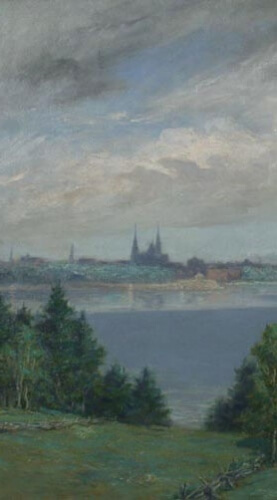 Robert Harris, (1849-1919), Charlottetown Seen From The North River, (detail), 1903, oil on canvas, 87.2 x 107 cm. Gift of the Robert Harris Trust