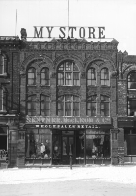 Sentner and MacLeod Store, Queen Street (Beer Building), c. 1895 (detail), A.W. Mitchell photograph, digital copy PARO Acc3466.72.66.18.6