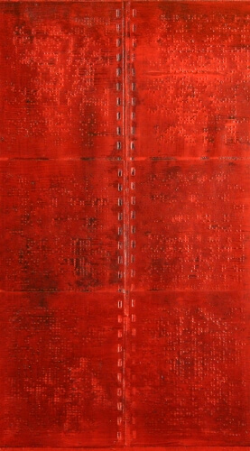 Irene F. Whittome, Red Braille Painting, 1997, oil paint, braille calendar page on linen Gift of Susan Watterson, Montreal, Quebec, 2006, CAG 2006.1.28