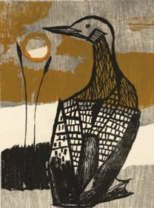 Bruno Bobak, Loon, (detail), undated, woodcut on paper, 25/30, 22.5 x 15.5 cm Gift of the Estate of Bruno Bobak, Fredericton, New Brunswick, 2013