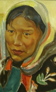 Kathleen Daly, Untitled (Native Woman Wearing Scarf), (détail), non daté, oil on panel, 40.6 x 33.0 cm. Gift of the estate of Kathleen Daly, Toronto, 1994