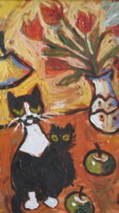 Interior with Lamp and Cats, (detail), 2003, acrylic on canvas, 61.0 x 91.4 cm, Collection of Betty Howatt