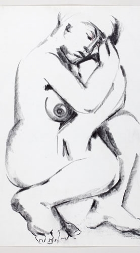 Caryatid, 1985, graphite and coloured pencil on paper, 76.5 x 56.8 cm. Collection of Carleton University Art Gallery