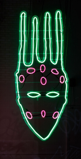 Brendan Fernandes, From Hiz Hands, 2011, text and neon