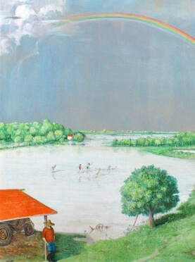 William Kurelek, I Triumphed and I Saddened with all Weather, (detail), 1970, mixed media on board, 137.2 x 137.2 cm