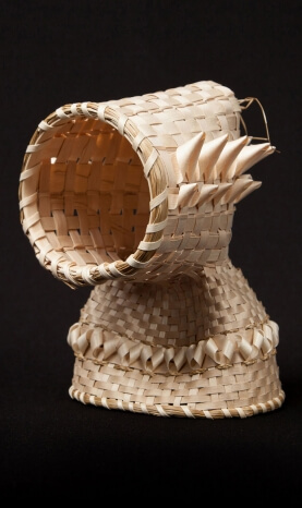 Awije'jk, O'pltek Form, 2012, black ash, maple wood, sweetgrass, 18 x 13 x 13 cm. Courtesy of the Artist. Photo: Wendy McElmon